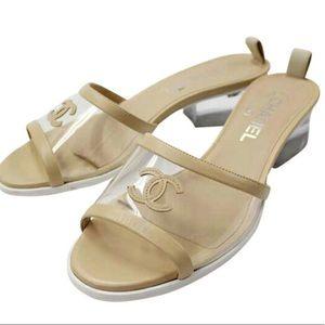 Chanel PVC CC logo slides sandals sz38